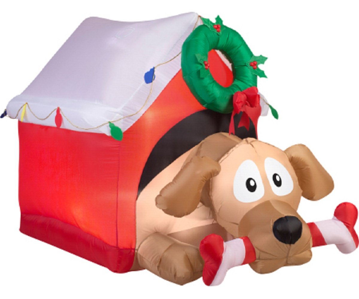 amazoncom christmas inflatable 5 12 animated dog w candy cane bone in decorated dog house garden outdoor - Inflatable Christmas