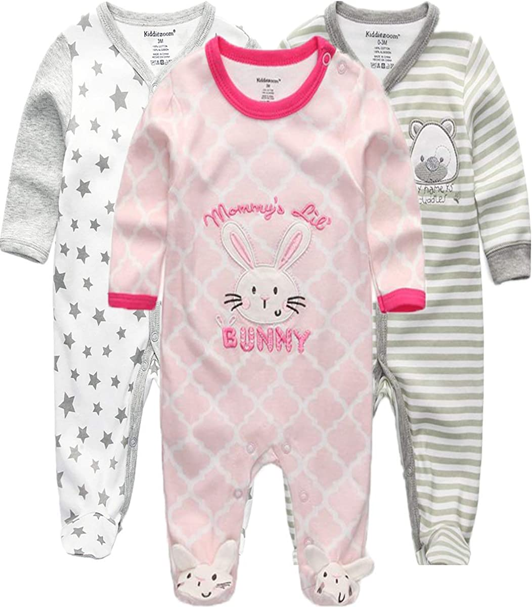 Kiddiezoom Baby and Toddler Boys 3-Pack Snug Fit Footed Cotton Pajamas