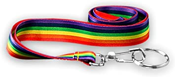 RAINBOW Lanyard Badge KEYS KEY Holder METAL CLIP SILKY Gay Pride LGBT X 1