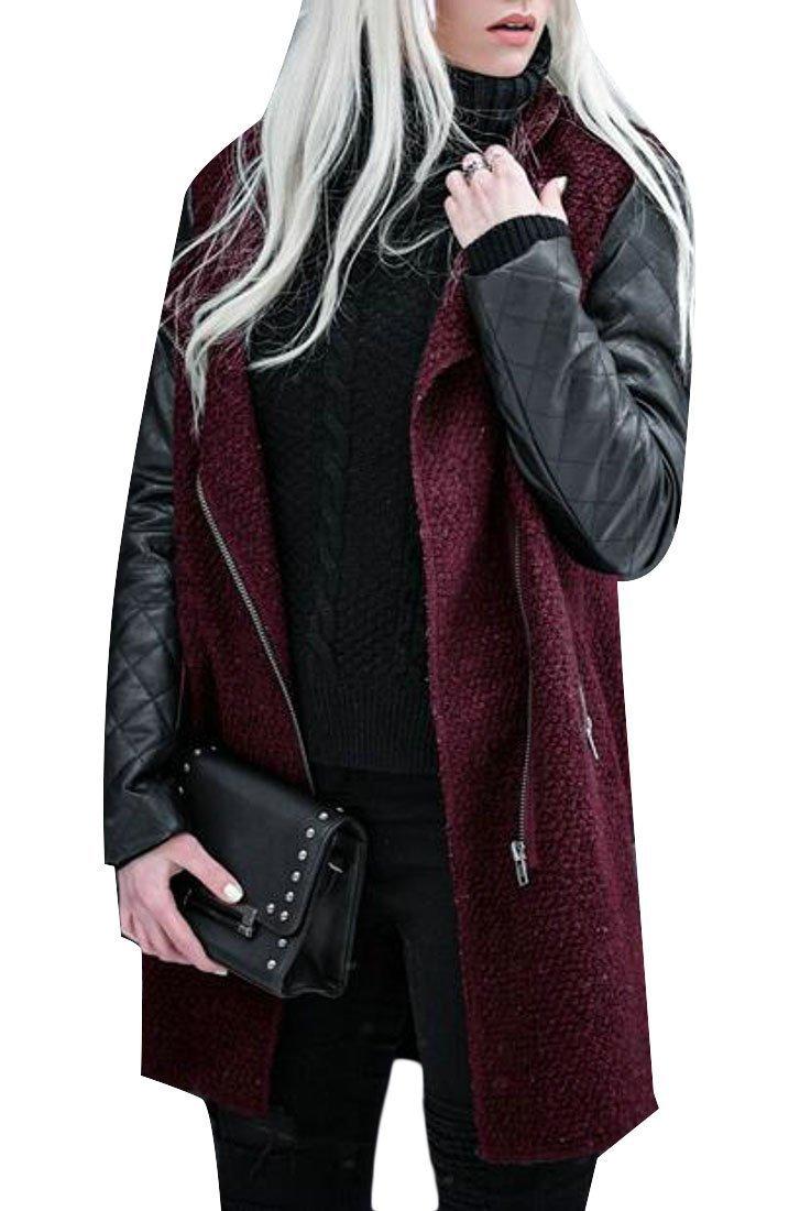 Cromoncent Women's Faux Leather Splice Jacket Zip Fall/Winter Outwear Trench Coat