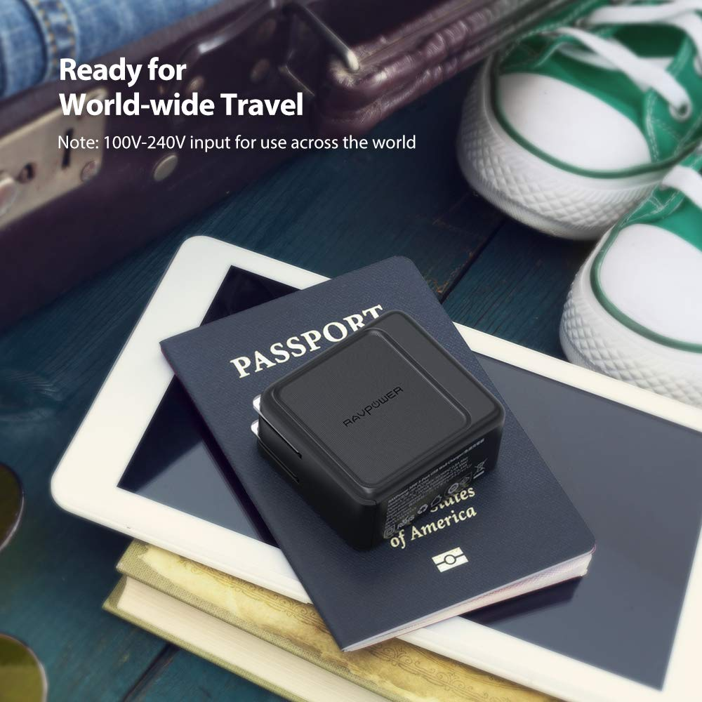 USB Wall Charger 3-Port 30W RAVPower Travel Charger Multi Port USB Charger Charging Station Adapter, Compatible iPhone Xs Max XR X 8 7 Plus, Ipad Pro Air Mini, Galaxy S9 S8 Note 8 and More (Black) by RAVPower
