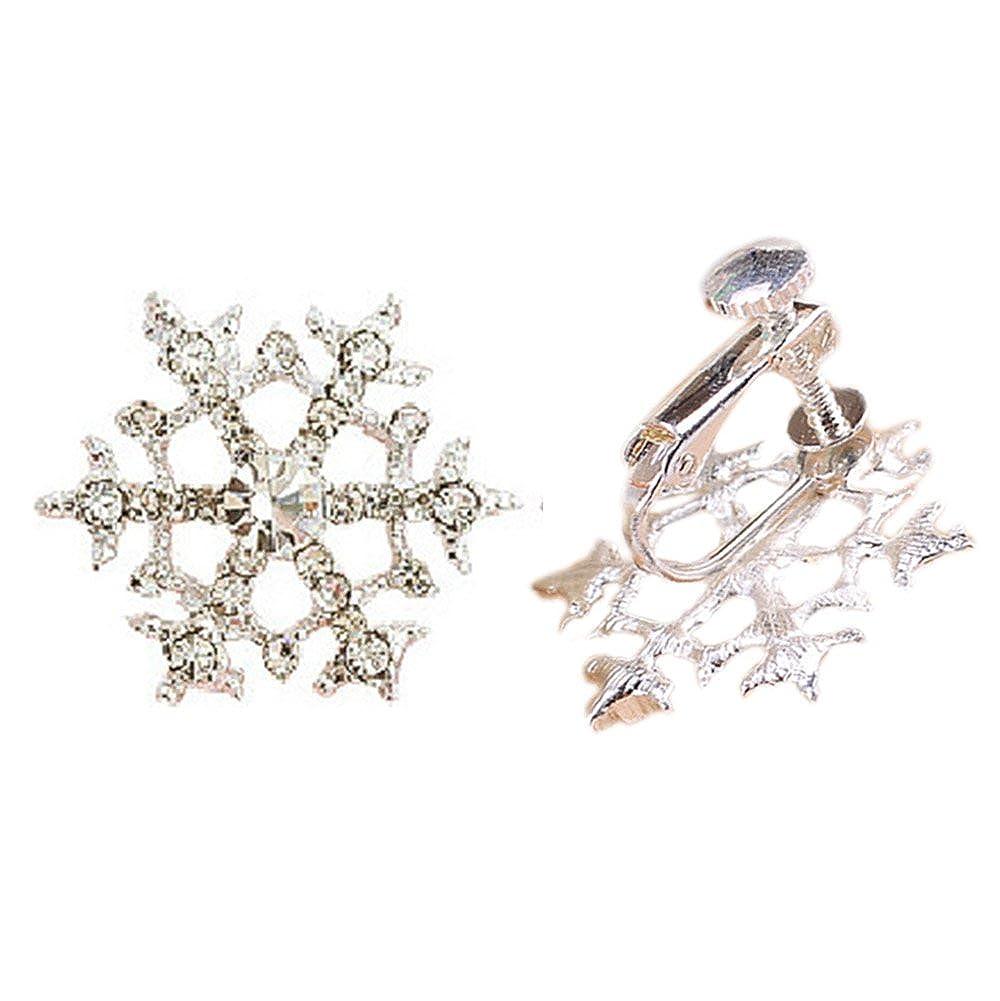 Amazon.com  Clip On Earrings Snowflake Earrings Dangle Sweet No Pierced  Rhinestone Silver Tone Plated Lovely Gift  Jewelry 18f1e71ee25c