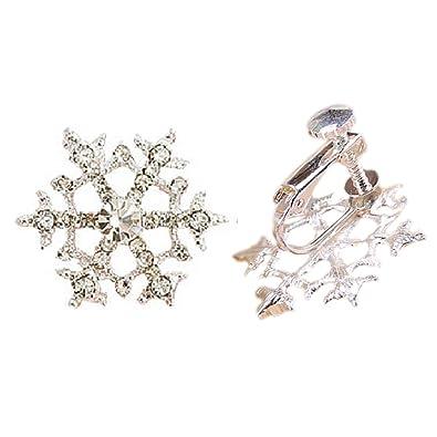 Amazon.com  Clip On Earrings Snowflake Earrings Dangle Sweet No ... 75d52840f57f