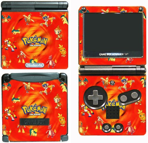 Pokemon Red Fire Chimchar Charmander Go Video Game Vinyl Decal Skin Sticker Cover for Nintendo GBA SP Gameboy Advance System
