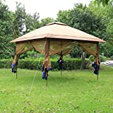 SunTime ST-1 Fully Enclosed Canopy Instant Popup Gazebo with Solar Powered LED Lights and Mesh Insect Screen, Portable