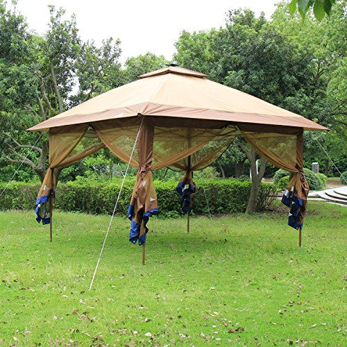 SunTime ST-1 Fully Enclosed Canopy Instant Popup Gazebo with Solar Powered LED Lights and Mesh Insect Screen, ()