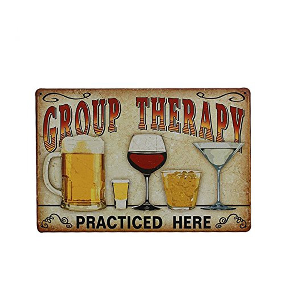 "Tinksky Vintage Metal Tin Sign Wall Plaque Poster ""Group Therapy Practiced Here"" for Cafe Bar Pub Beer Club Wall Home Decor"