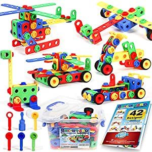Best Epic Trends 61vJh5kW6hL._SS300_ 163 Piece STEM Toys Kit, Educational Construction Engineering Building Blocks Learning Set for Ages 3 4 5 6 7 8 9 10…