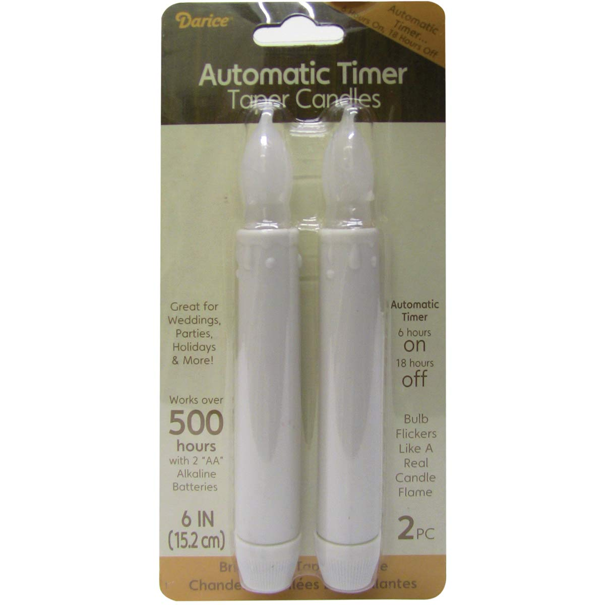 LED Taper Candles with Timer 6 Inches White (12 Pack)