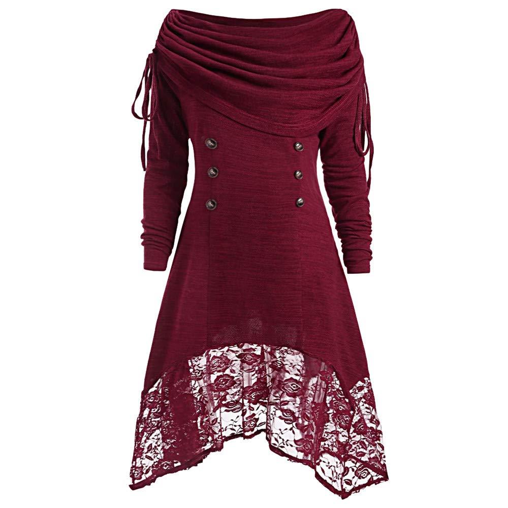kaifongfu Women Collar Lace Dress Solid Color Buttons Patchwork Mini Dress Dress 531