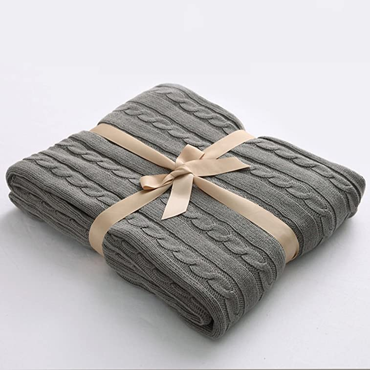 "NTBAY 100% Cotton Cable Knit Throw Blanket Super Soft Warm Multi Color(51""x 67"", Grey)"