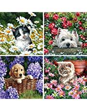 5D Diamond Painting Full Drill Flower Dog and Cat Diamonds Arts, Puppy and Kitten Rhinestone Embroidery Craft Paint with Diamonds for Adults DIY Wall Decor 30x30 cm (12x12 inch)