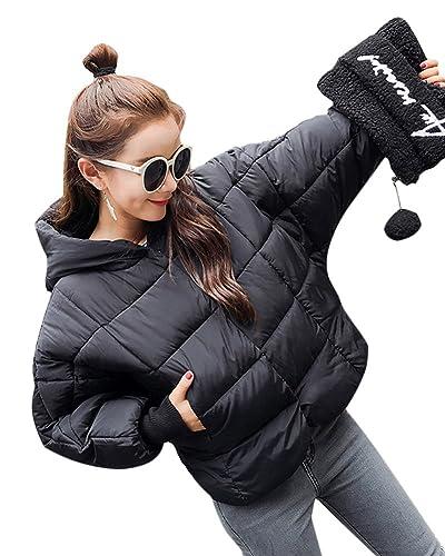 Mujer Elegante Abrigos De Invierno Calor Chaquetas Con Capucha Cortas Negro S