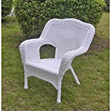 International Caravan 3180-2CH-WT-IC Furniture Piece Camelback Resin Wicker Patio Chairs (Set of 2) For Sale