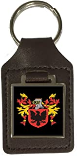 Drummond Family Crest Surname Coat of Arms Brown Leather Keyring Engraved