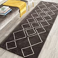 Safavieh Soho Collection SOH340A Handmade Ivory and Dark Grey Premium Wool Runner (26 x 8)