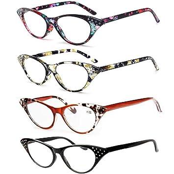 88eb4895899 REAVEE 4 Pack Stylish Ladies Reading Glasses Cat Eye Readers for Women  Spring Hinged Pattern Design