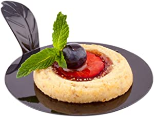 3 Inch Dessert Serving Plates, 100 Round Pastry Plates - With Handle, Disposable, Black Plastic Mini Plastic Plates, Recyclable, For Appetizers Or Desserts - Restaurantware