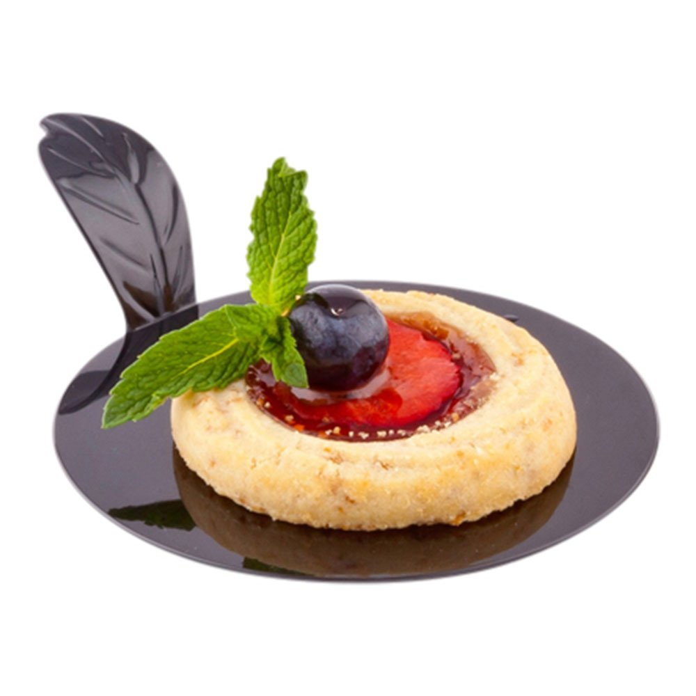 Pastry Pallet, Round Pastry Plate, Plastic Dessert Plate with Handle - 3'' - Black - Premium Plastic - 100ct Box - Restaurantware