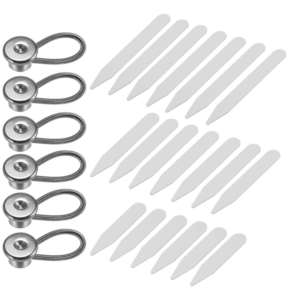 PChero 20pcs Plastic White Collar Stays (3 sizes) + 6pcs Metal Shirt Collar Extenders