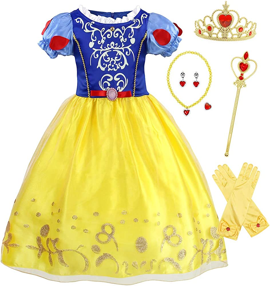 Halloween Costumes For Kids Girls 9 And Up.Girls Snow White Princess Dress Up For Birthday Party Fancy Dress Holiday Costumes With Accessories 1 9 Years