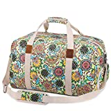 S-ZONE Ladies Women Canvas Weekender Bag Travel Duffel Bag for Overnight Trip with Shoe Pouch