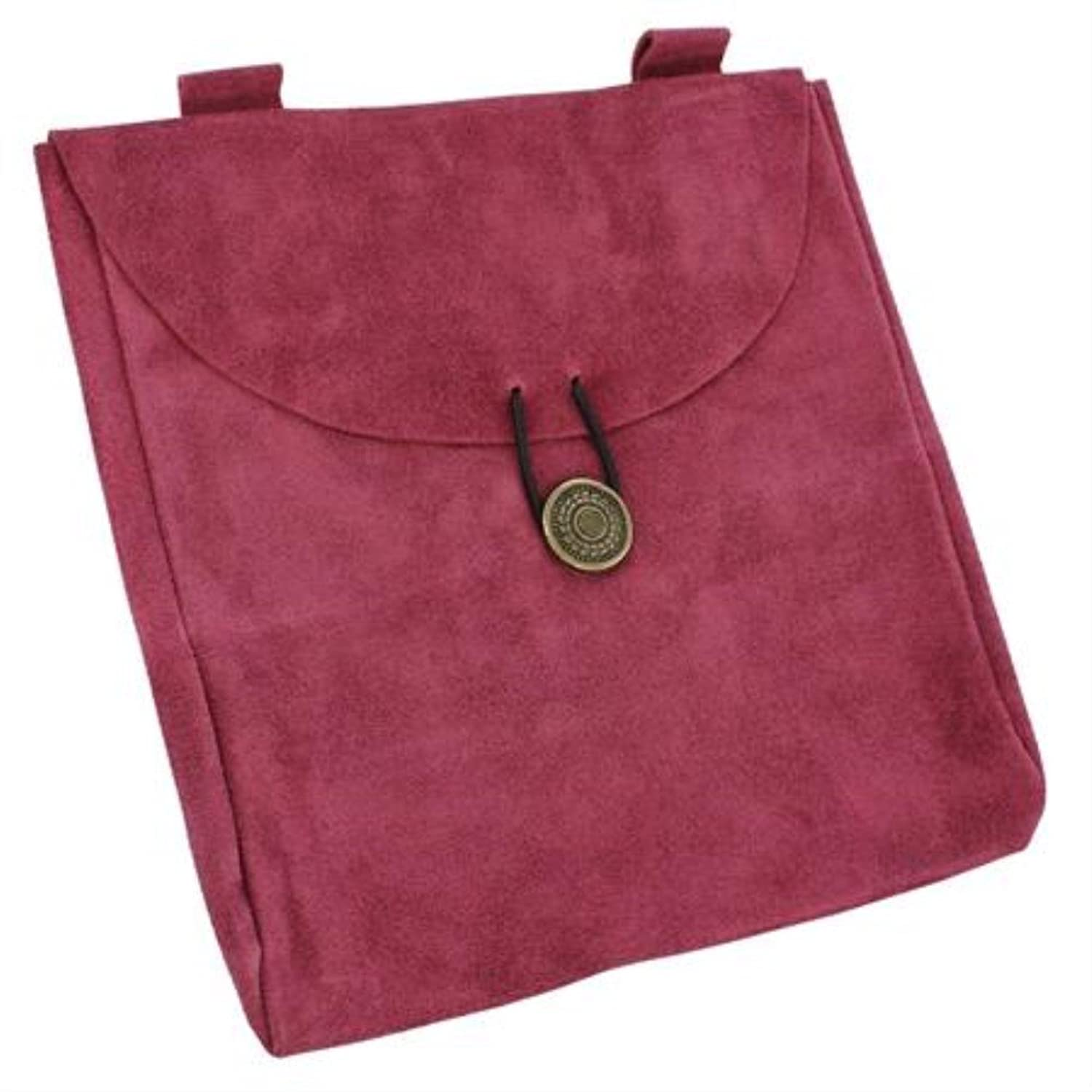 Large Medieval Rose Suede Leather Belt Pouch