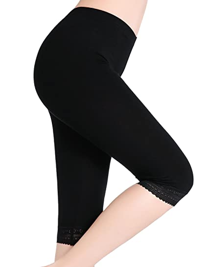 39c9d9b11aebb5 CnlanRow Women's Under Skirt Lace Trim Leggings Capris - Soft Cropped  Leggings for Women,Black