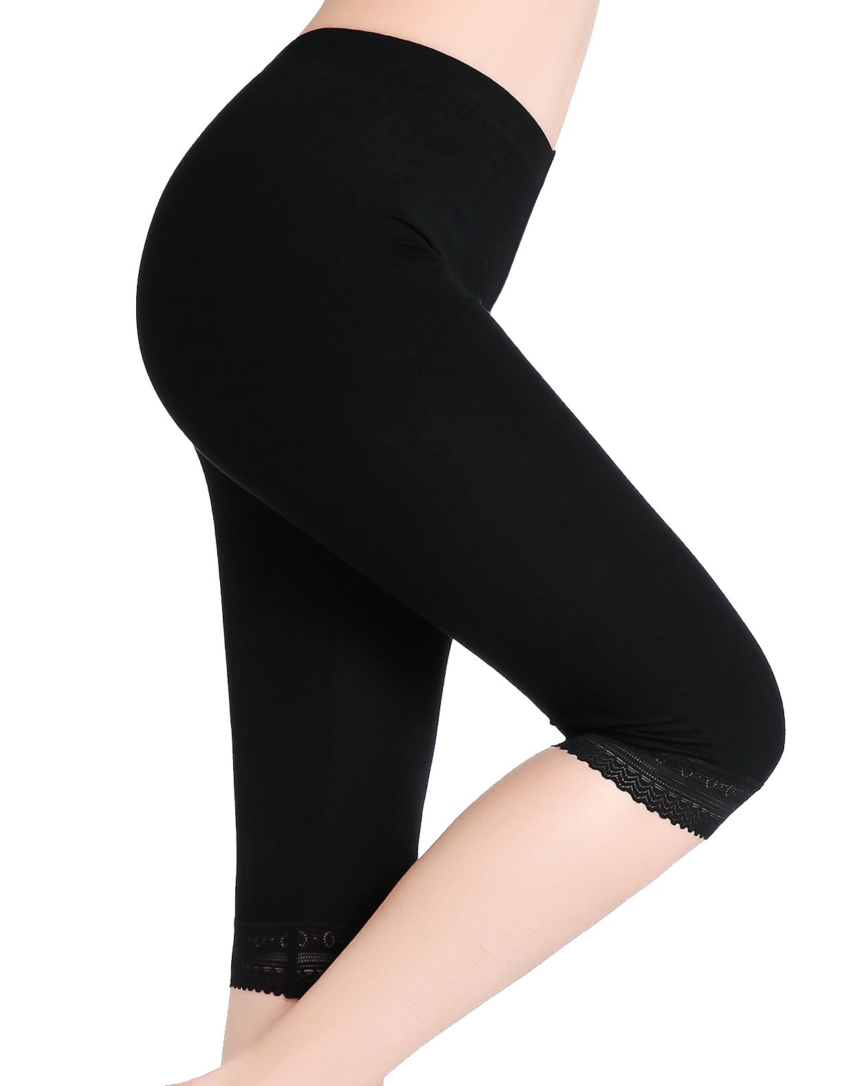 CnlanRow Women's Soft Lace Cropped Leggings Fitness Sport Capris Stretch Short Leggings,Black Lace Trim,3X Big