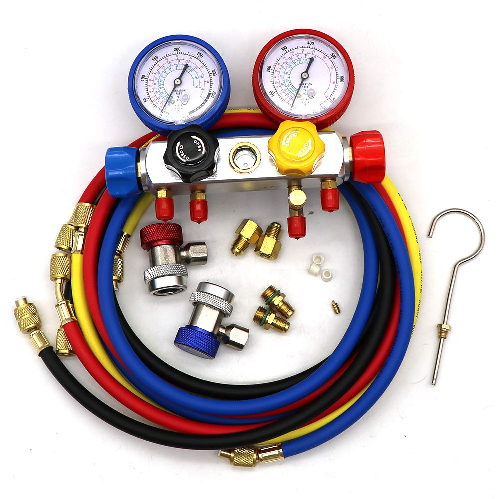 KIPA AC Manifold Gauge Set R12 R22 R134A R410A 4 Ways HVAC Diagnostic Tool  Kit Refrigeration Service Components Inlcuding Refrigerant Charging