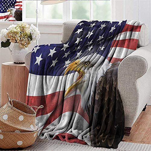 Xaviera Doherty Throw Blankets Fleece Blanket American Flag,Bald Eagle Icon Microfiber All Season Blanket for Bed or Couch Multicolor 50