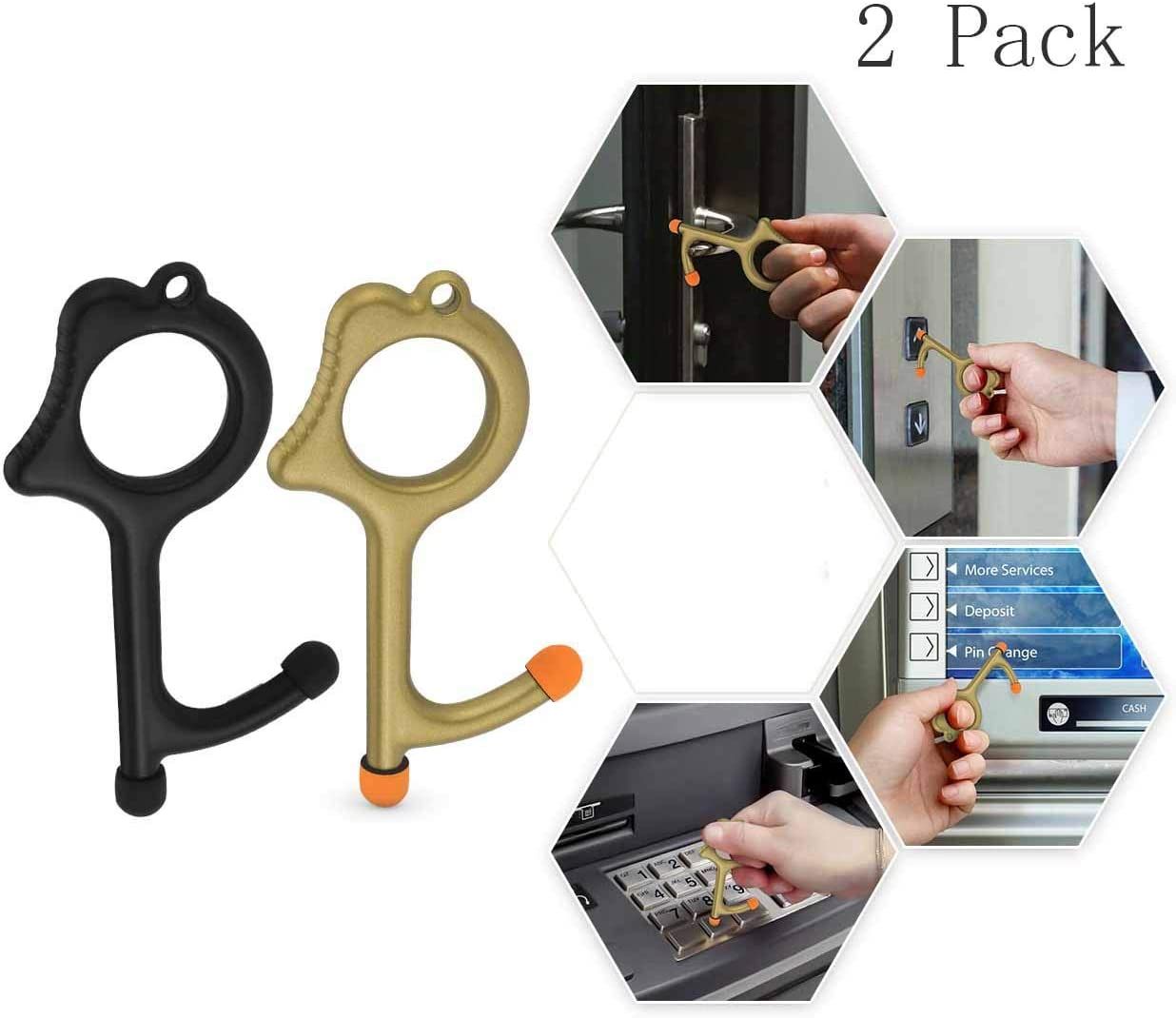 No Touch Tool Handheld EDC Keychain Tool –Closer Contactless Safety Door Opener Smart Key Tool for Infected Surfaces, Touchscreens, Handles, Buttons (Black +Gold 2Pack)