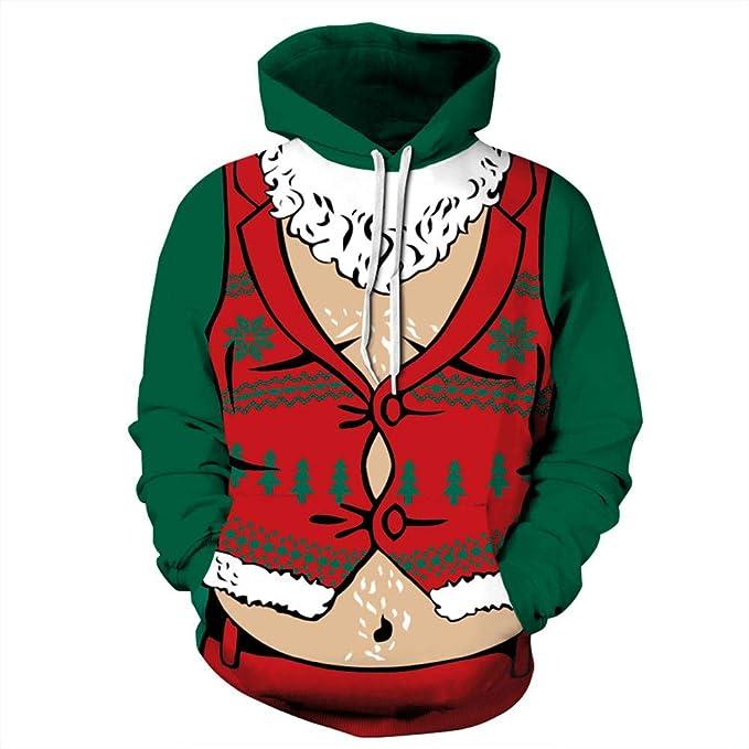 FAMLYJK Sudaderas Navideñas- Unisex Estampado En 3D Jerseys Jersey Camisa con Capucha Hombres Mujeres Suéter con Capucha Chaqueta De Bolsillo,L/XL: ...