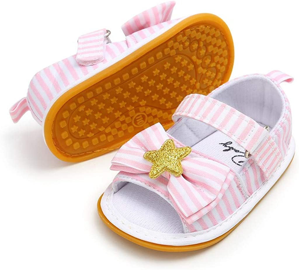 Infant Baby Girls First Walking Shoes Open Toe Sandals for 6-18 Months Fashion Star First Walkers Toddler Shoes