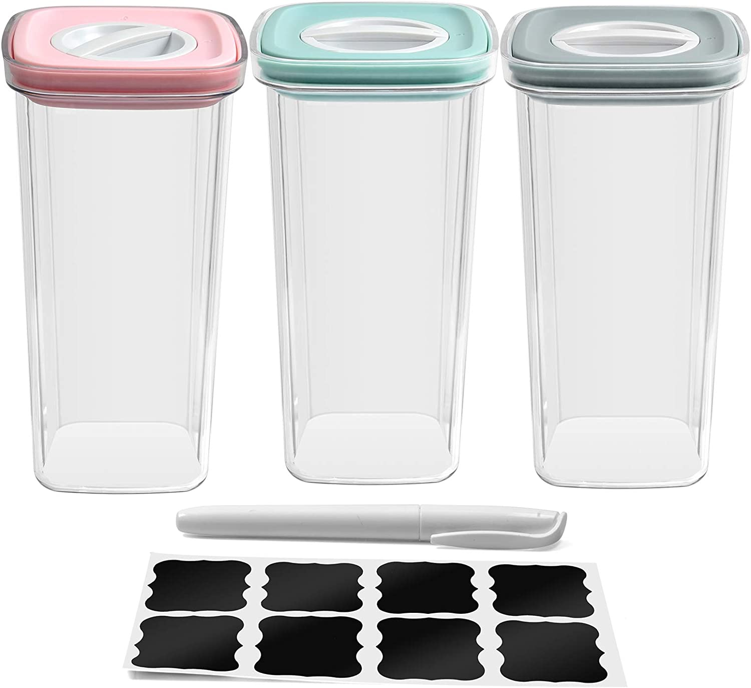 3-pack 2L air tight cannisters food storage containers set pantry kitchen accessories organizing organization organizer jars for cereal flour sugar home|sturdy plastic| air-tight lid