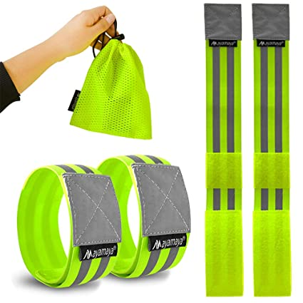 Running Arm Warmers New 40cm Reflective Strap Bracelet Wrist Ankle Arm Band Riding Green Night Light Safety For Walking Running Riding Cheap Sales