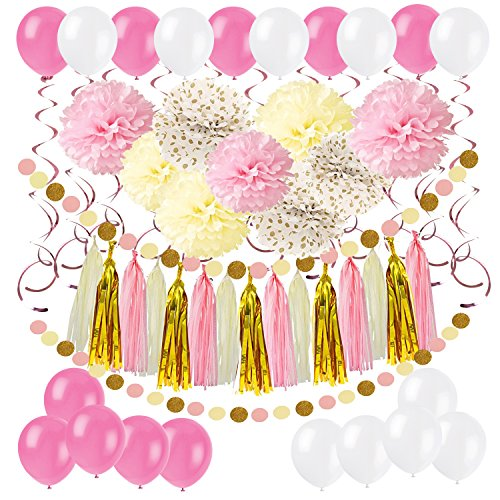 Cocodeko Diy Paper Pom Poms with Tissue Paper Tassel, Polka Dot Garland, Hanging Swirl Decorations and Balloon Kit for Birthday Wedding Showers Party Decorations - - Ribbon Swirl Pink