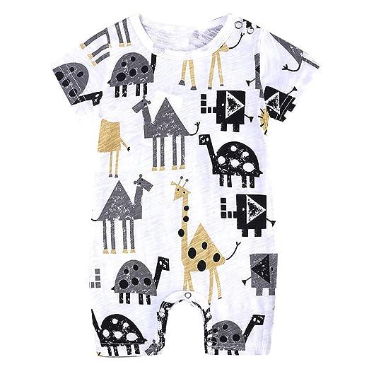 5fac4e1f81 0-18MToddler Infant Baby Boy Girl s Cotton Short Sleeve Romper Bodysuit  Summer Cartoon Print Jumpsuit
