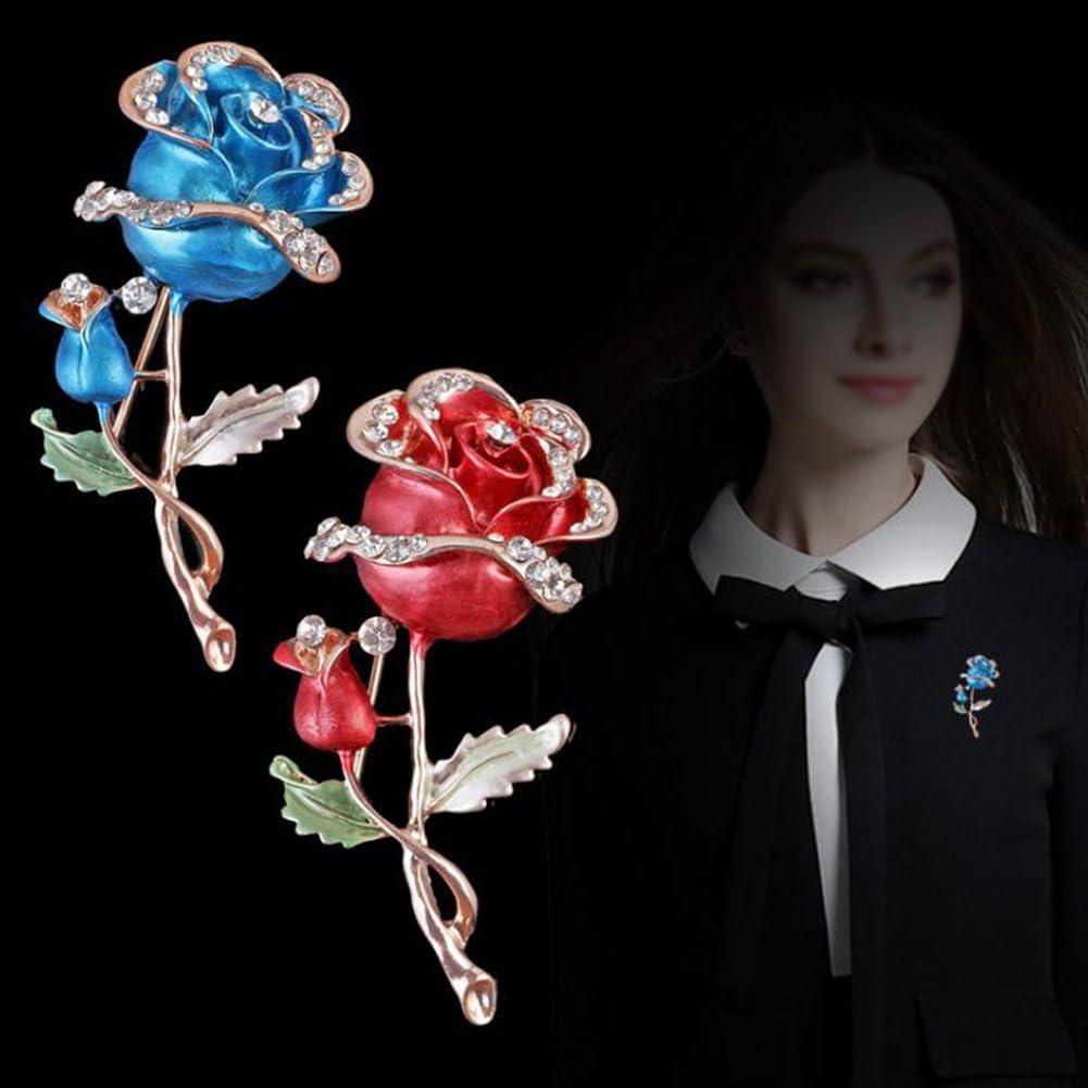 Demarkt 1 Pcs Femmes Broche de Alliage /él/égant Rose Fleur Cristal Broche pour Filles Valentin F/ête des M/ères Romantique D/écor V/êtements Cadeau Broche de Bijoux 6.9x3cm Bleu