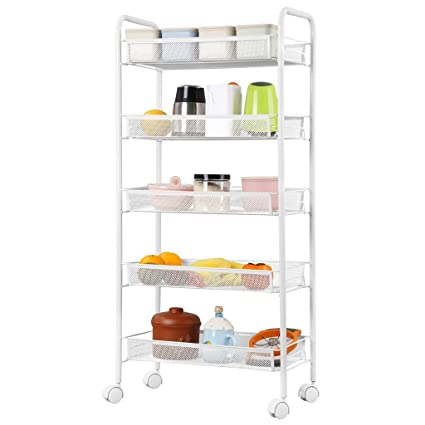 Incroyable Metal Mesh Rolling Cart Storage Rack Shelves With Casters For Kitchen Pantry  Office Bedroom Bathroom Washroom