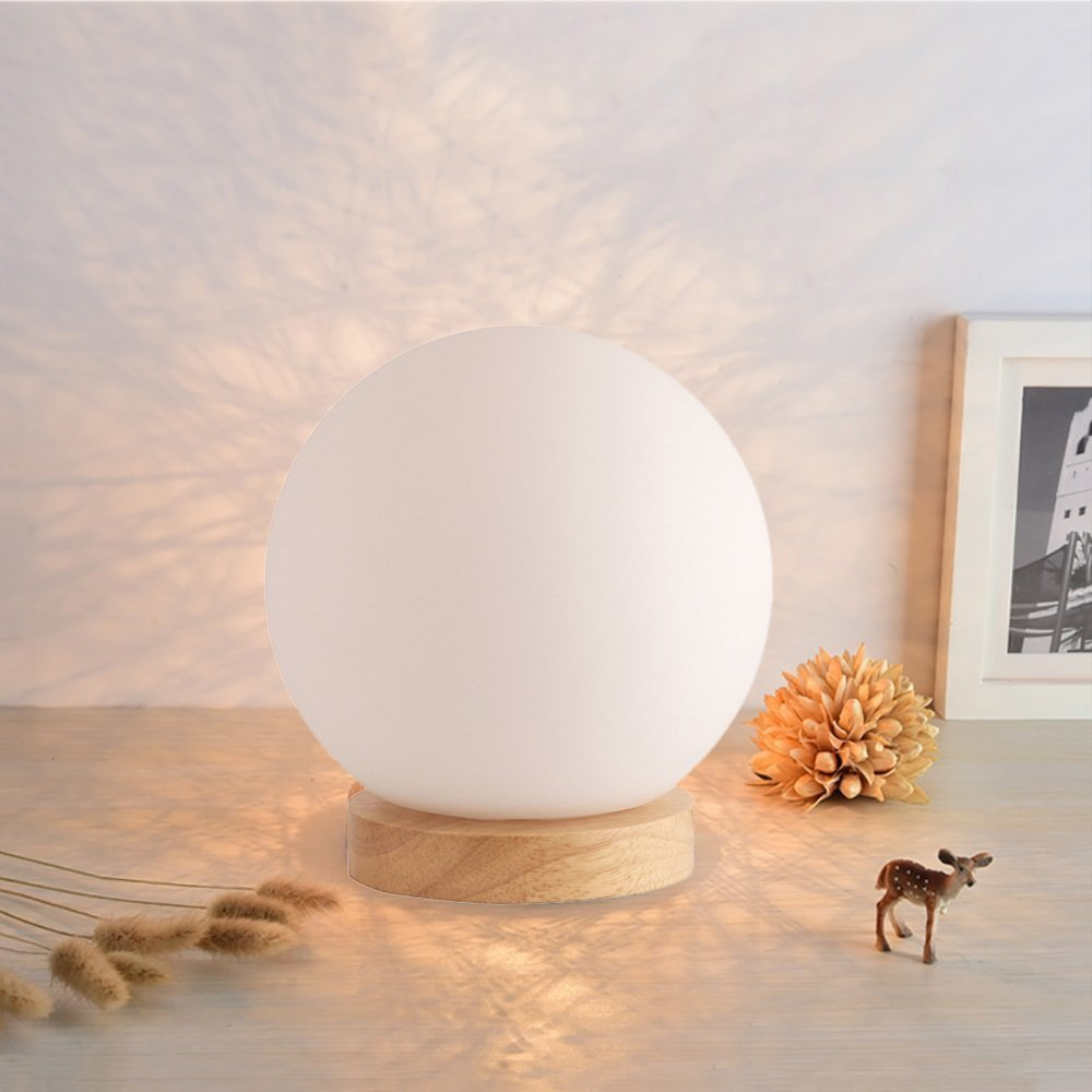 Cylinder Bedside Table Lamp,WONFAST Minimalist Solid Fabric Shade Wooden Nightstand Lamp Desk Lamp for Bedroom Living Room Office Study