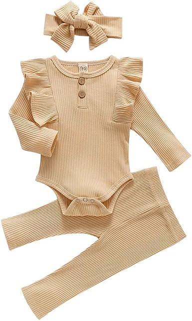 Miyanuby Toddler Baby Girls Ruffled-Sleeve Plain Crewneck Cotton Romper Bodysuit Clothes with Headband Purple