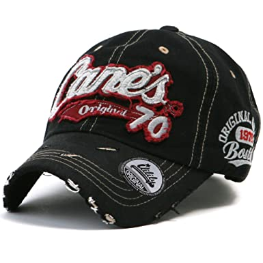 9cd42e08813 ililily Distressed Vintage Pre-curved Cotton embroidered logo Baseball Cap  with Adjustable Strap Snapback Trucker