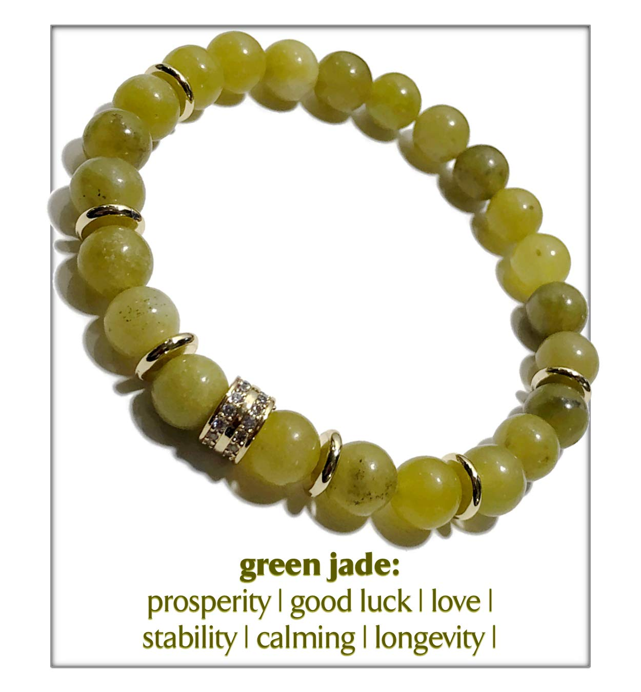KarmaArm Love Bracelet | Success | Green Jade | Chakra Yoga Reiki Healing Energy Meditation Zen Jewelry | Wellness Self-Care Mala Wristband | CZ Diamond Pave (6.5)