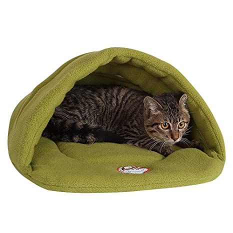 Camas Para Perros,World 9.99 Mall Cueva de mascotas Suave y cálida cama para gatos Casa para perros y gatos(XS/S/M/L) (verde, XS)
