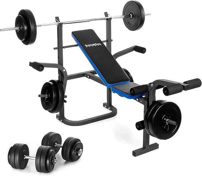 Kinetic Sports – Banco de pesas con pesas (30 o 60 kg y mancuernas 30 kg – Banco de entrenamiento fitness Banco Set: Amazon.es: Deportes y aire libre