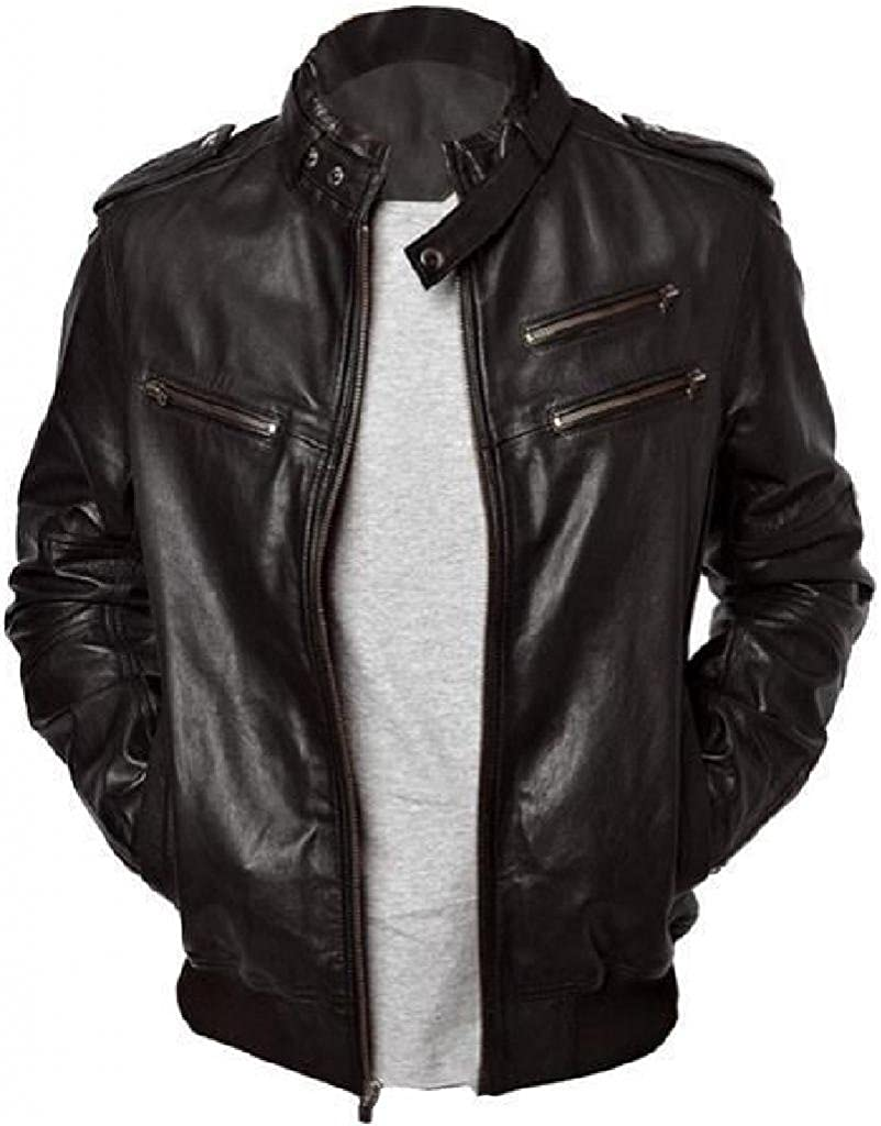 736148313 The Leather Factory Men's Bomber Jacket In Lambskin Leather With Rib  Knitted Hem