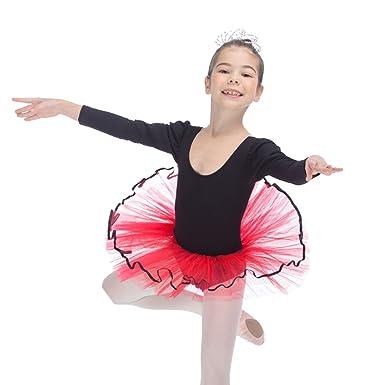 c45be5f26 Amazon.com  HDW DANCE Kids Girls Ballet Dance Tutu Dress Long Sleeve ...