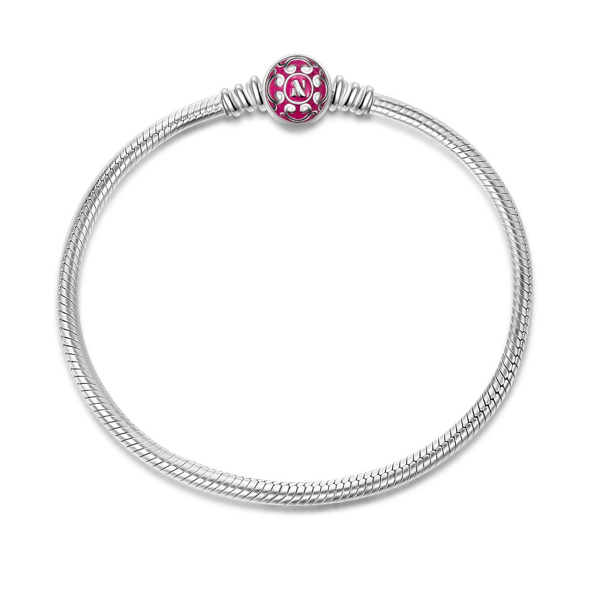 NinaQueen 925 Sterling Silver Jewelry Bangle Bracelet with Pink Snap Clasp 7.5 Inches, Birthday Anniversary Gifts for Women Wife Mom Bracelets for Charms Teen Girls Niece Daughter Schoolmates Teachers