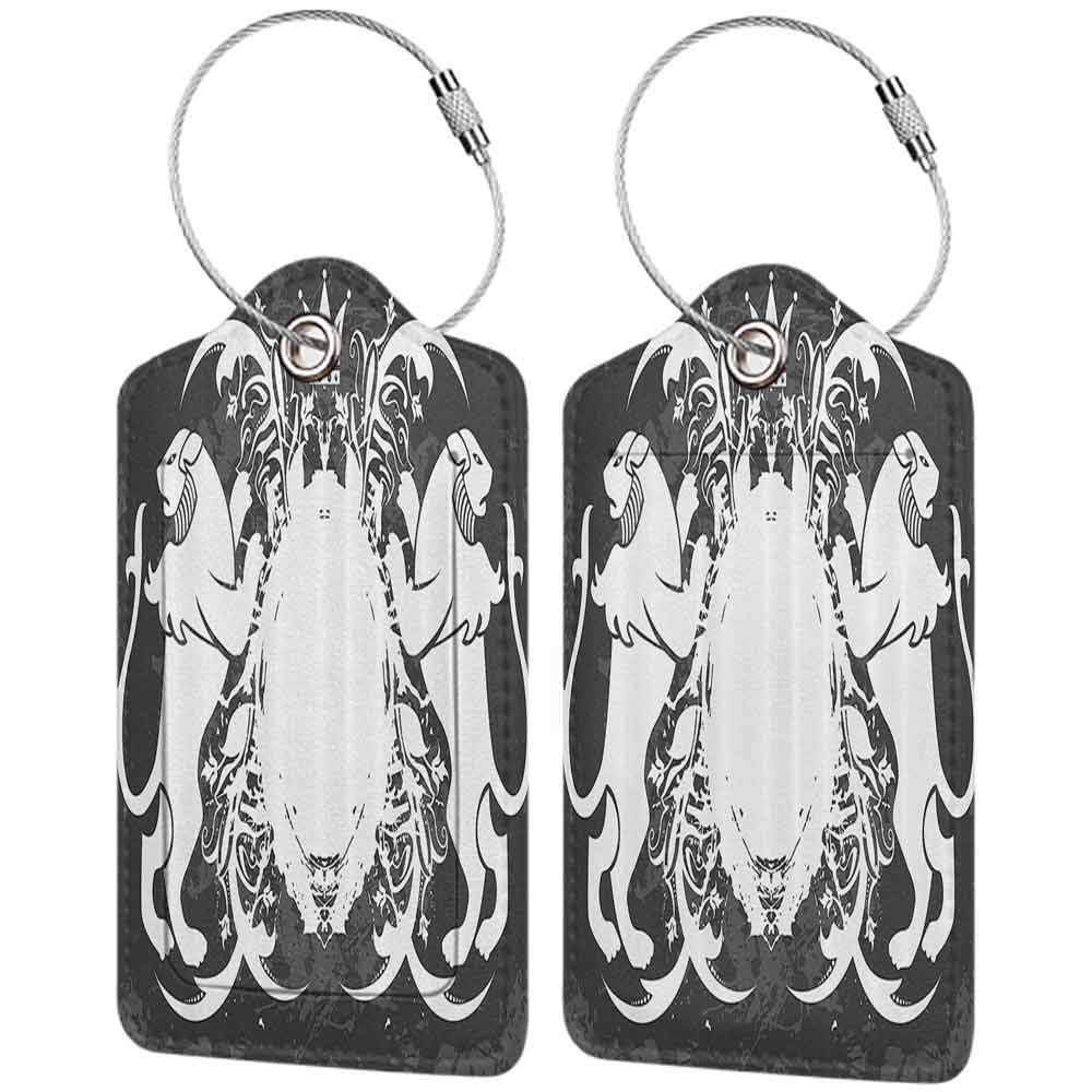 Decorative luggage tag Antique Emblem of Royalty Heraldic Bearing with a Crown Pattern Vintage Design Print Suitable for travel Black and White W2.7 x L4.6